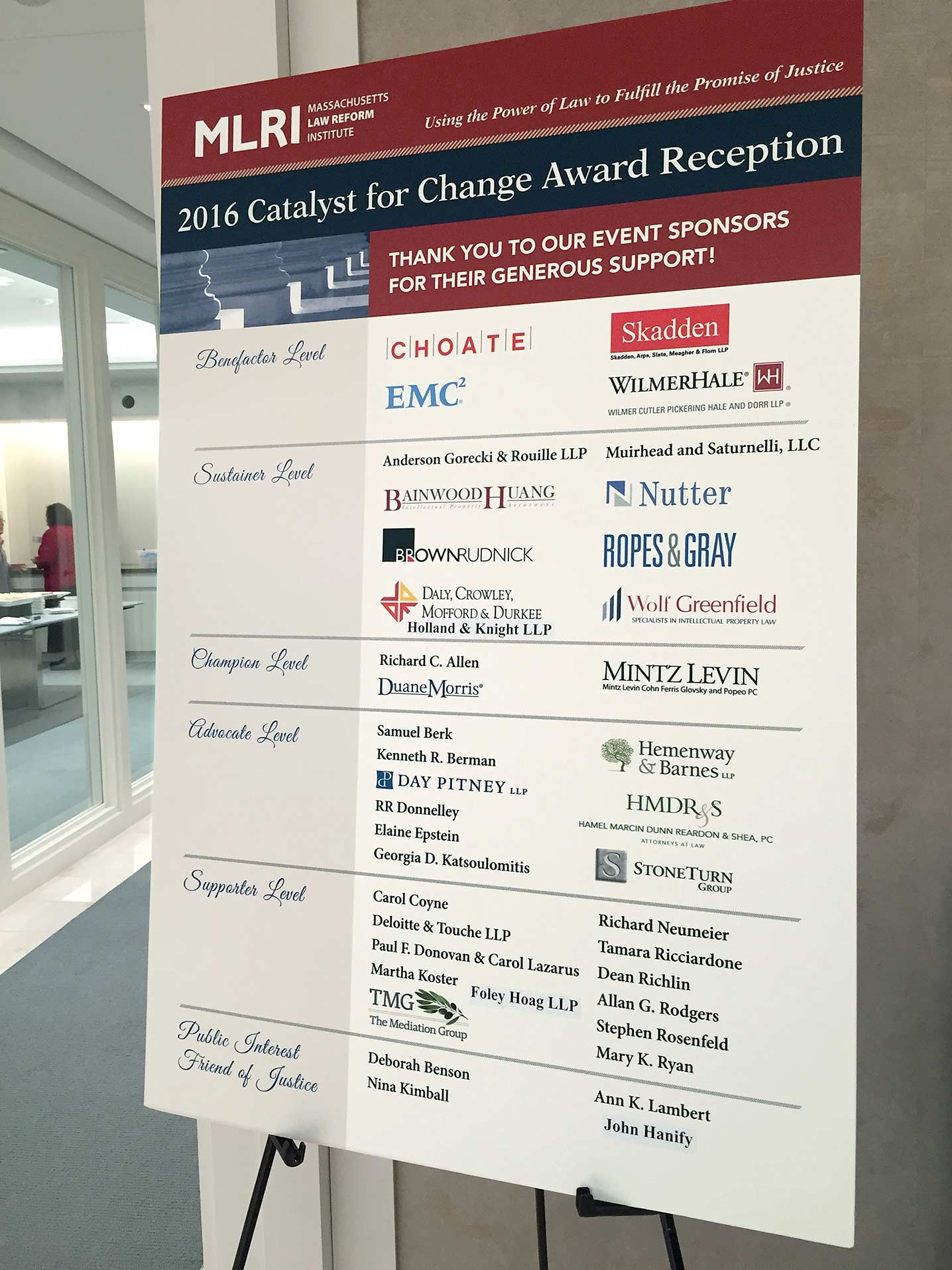 Bonnie Katz Design, Mass Law Reform Institute Catalyst for Change sign