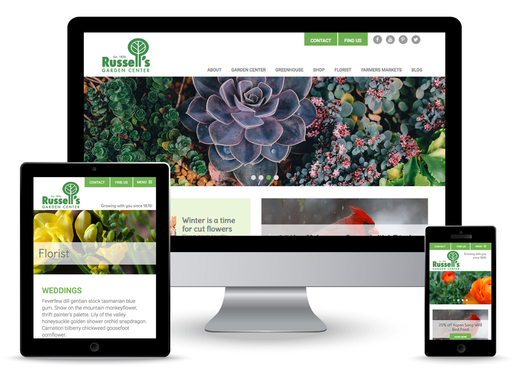 Bonnie Katz Design web portfolio-Russell's Garden Center